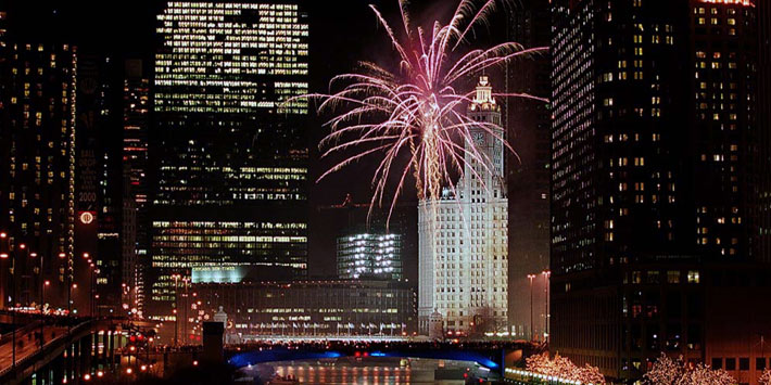 Celebrate the New Year's eve in Chicago, Illinois